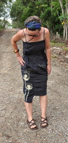 Pants upcycled to summer dress.