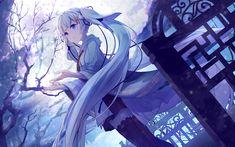 Télécharger fonds d'écran Hatsune Miku, la nuit, 4k, de la lune, du manga, de Vocaloid