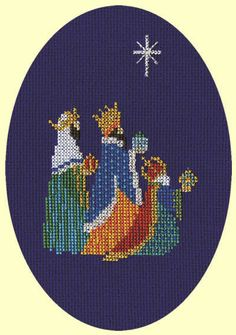 This cross stitch Christmas card kit is perfect for those who would like to make their own cards this year. Featuring the Three Kings on a deep blue. Cross Stitch Christmas Cards, Xmas Cross Stitch, Cross Stitch Cards, Christmas Cross, Cross Stitching, Cross Stitch Embroidery, Owl Crochet Patterns, Needlepoint Patterns, Cross Stitch Designs