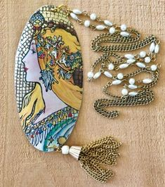 TTE Designs handcrafted from vintage tin. This beautiful queen long necklace with repurposed antique chain. Bohemian Design, Vintage Tins, Artisan Jewelry, My Etsy Shop, Jewelry Design, Pendants, Repurposed, Tassel, Queen