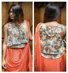Beautiful Kalamkari blouse designs can add style statement to even a simple saree. Kalamkari Blouse Designs, Blouse Patterns, Simple Sarees, Latest Trends, Sari, Blouses, Boutique, Beautiful, Style