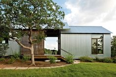 The outdoor spaces are the true workhorses of these homes. They create shade, encourage cross-ventilation, and expand the living space without expanding the conditioned space. The exterior of the homes combine corrugated, galvanized metal with Eastern red Metal Building Homes, Metal Homes, Building A House, Building Plans, Barndominium Floor Plans, Barndominium Texas, Big Bedrooms, Shed Homes, Breezeway