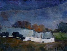 l'orage. Peinture à l'huile. Paysage by Benedicte Garnier Fihey