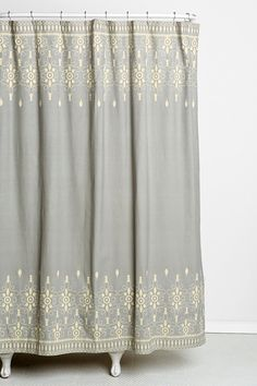 Bath - Magical Thinking Embroidery Shower Curtain I Urban Outfitters - gray and ivory embroidered shower curtain, gray and cream embroidered shower curtain, embroidered shower curtain, Country Interior Design, Apartment Interior Design, Interior Design Living Room, Living Room Decor, Interior Decorating, Apartment Ideas, Home Design, Safari Bathroom, Gray Shower Curtains