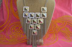 VIVI  Stunning silver vintage bib necklace with fringe.. adjustable.  $75