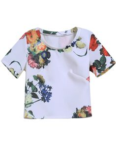 White Short Sleeve Yellow Floral Crop T-Shirt 15.17