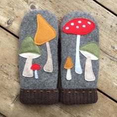 "Inspired by all those beautiful, wild mushrooms now popping up everywhere here in Talkeetna, Alaska: A new ""colorful mushrooms"" mittens design to go with your Fall fashion."