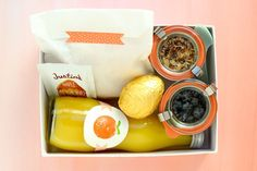 boxed breakfast - fun for guests on the go and for a special outing with kids. love the cute jars...now where to find them?