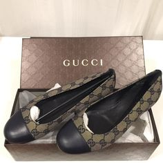 NEW Gucci Ballerinas New Gucci ballet flats. Guccissima logo navy blue fabric upper with leather heel and cap toe. Leather lined. Made in Italy. Please ask questions before buying. Price will be adjusted for discounted shipping. Gucci Shoes