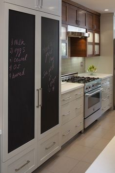 Fridge cabinet and upper cabinet. Ditch the frosted window cabinets and add shelves.