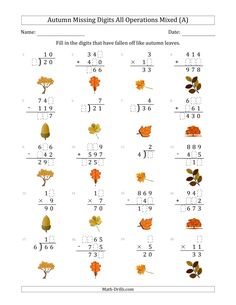 The Autumn Missing Digits All Operations Mixed (Easier Version) (A) Math Worksheet from the Seasonal Math Worksheets Page at Math-Drills.com. Addition And Subtraction Worksheets, Math Worksheets, Math Drills, Group Work, Learning Centers, Teaching Tools, Autumn, Math Skills, Falling Down