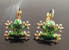Cutest Little Green Enamel Gold Tone Frogs Ever Lever Pierced Earrings | eBay