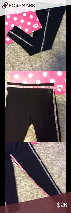 Victoria's Secret PINK Bling Leggings Size Medium.  Measurements shown.  Sequins intact. Minor fading due to washing but not totally faded by any means.  Great used condition. PINK Victoria's Secret Pants Ankle & Cropped
