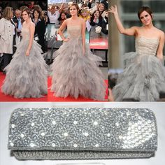 Great Ladies, Emma Watson evening dress for World Premiere. It's ball gown with cowl neck. Perfect match with Donini Light Grey Crystal Wallet Art#0397-727 which sides and inside material is raw silk.