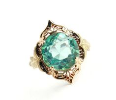 Antique 10k Rose and Yellow Ring - Size 6 Art Deco Filigree Blue Green Glass Stone Fine Jewelry / Leaf Accents