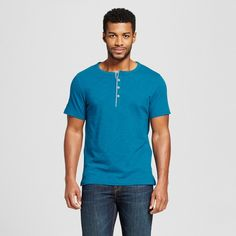 Men's Short Sleeve Henley Shirt Teal (Blue) XL - Merona