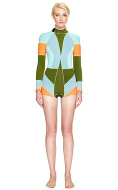 Olive Multi Colorblock Wetsuit by Cynthia Rowley - Moda Operandi...This is a WETSUIT. much better looking that my Xterra!