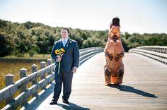 BEST FIRST LOOK EVER! T-Rex Bride Suprises Groom