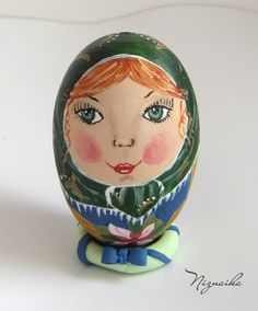 hand painted wood egg Painted Wood, Hand Painted, Painting On Wood, Dolls, Baby Dolls, Puppet, Doll, Baby, Girl Dolls
