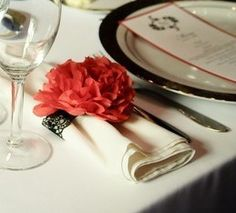 Mexican paper flower napkin holders with vintage lace bands