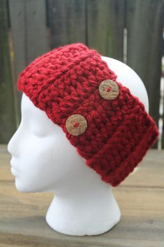 Crochet Headband Ear Warmer Crimson Red Chunky Ribbed Crochet Headband by HMRCreatives on Etsy
