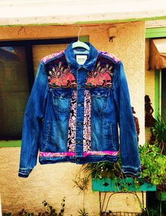 Custom painted up-cycled denim boho hippie peace caravan jacket with thrifted fabrics (Front) by @bleudoor on Instagram