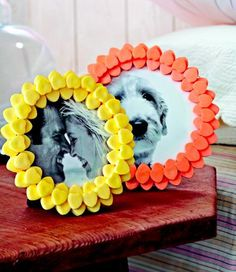 Create a frame of candy or foam hearts to surround a special pictures. Click for more Valentine's ideas!