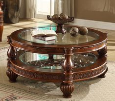 Homey Design 46 Inch Round Carved Wood Single Shelf Glass Top Coffee Table in Brown Finish Cherry Coffee Table, Mahogany Coffee Table, Coffee And End Tables, Glass Top Coffee Table, Home Decor Furniture, Luxury Furniture, Furniture Design, Tea Table Design, Wooden Sofa Set Designs