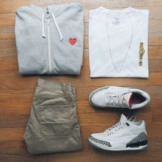 http://yrt.bigcartel.com Cdg and white cement 3's outfit grid.