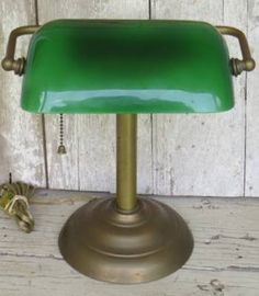 Vintage Antique Art Deco Brass Bankers Desk Piano Lamp Emerald Green Glass Shade