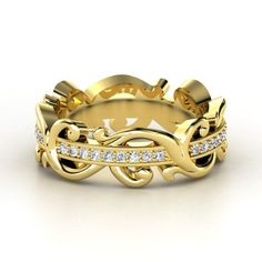 14K Yellow Gold Ring with Diamonds.  Would love to see this with the diamonds set in white gold.  Would make the ring two-tone.