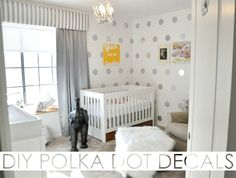 DIY Polka Dot Decals - using contact paper and a circle cutter! Such a $$ saver.