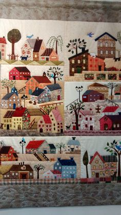 House Quilt Patterns, House Quilt Block, Shabby Chic Embroidery, Embroidery Art, Wool Applique Quilts, Applique Patterns, Landscape Art Quilts, Contemporary Quilts, Quilting Designs