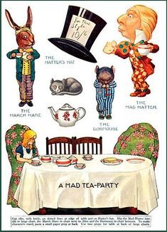 Alice in Wonderland: Mad Hatter, March Hare, Dormouse paper dolls cut outs Lewis Carroll, Mad Hatter Tea, Mad Hatters, Alice Tea Party, Art Carte, Alice In Wonderland Tea Party, Adventures In Wonderland, Vintage Paper Dolls, Paper Art