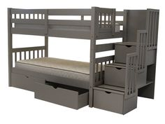 Bedz King Stairway Bunk Beds Twin over Twin with 3 Drawers in the Steps and 2 Under Bed Drawers, Gray Bunk Bed With Trundle, Modern Bunk Beds, Full Bunk Beds, Kids Bunk Beds, Loft Beds, Under Bed Drawers, Bunk Beds With Drawers, Bunk Beds With Storage, Kids Bedroom Ideas