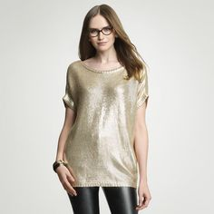Foiled boat neck tunic: Anne Klein