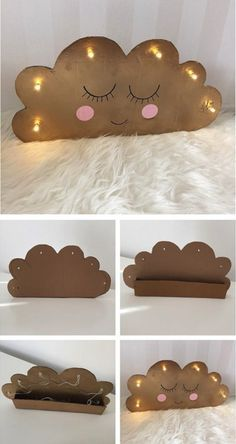 DIY cardboard cloud with lights