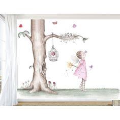 """Mural Infantil Personalizado """"Hada con Mariposas"""""""
