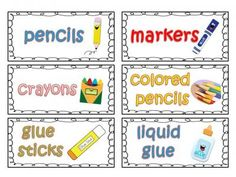 Classroom Supply Labels for Primary with Picture Clues from Teachers Notebook