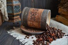 """Купить """"Кофейное удовольствие"""" Набор /массив липы/ - коричневый, бочонок, бочонок липовый"""