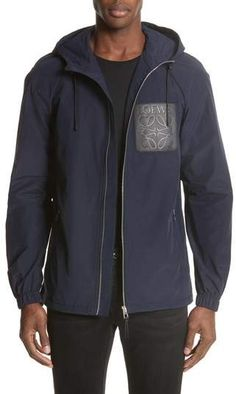 A logo-stamped leather patch brands a slick, Italian-crafted jacket woven from a durable blend of cotton and nylon. Urban Fashion, Mens Fashion, Loewe, Hooded Jacket, Hoods, Nordstrom, Zip, Sweatshirts, Coat