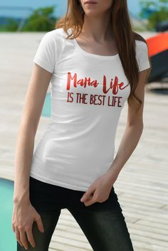 Mama Life is the best life Mommy Hard to Be A Mom Christian Quotes Iron On Vinyl Decal for Tank TeeShirt Personalized T-shirt Motherhood