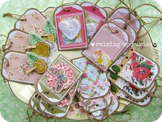 Raising up Rubies: vintage printables for you ... ♥ Kasey A Johnson Use your leftovers or any bits & pieces from your stash to embellish these tags. http://raisinguprubies.blogspot.com/2012/07/vintage-printables-for-you.html