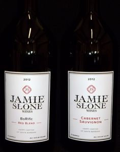 Etched and painted labels for Jamie Slone Wines.