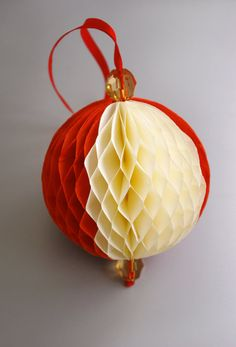 Origami paper ball in red and milky white colors by Waveoflight, $17.00