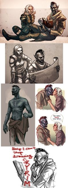 Dumping the stuff I drew of my Oblivion/Skyrim character Vadril and my bff Jenn's Kae (the bosmer cutie). The kissy picture is not canon, just making that clear >:I also Hya there is your shirtl...