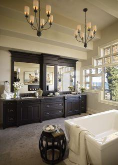 Regina Sturrock Design ~ Contemporary Bath - love the dark wood! Bathroom Storage, Bathroom Ideas, Contemporary Baths, Humble Abode, Beautiful Interiors, Dark Wood, Dream Homes, Storage Solutions, Future House