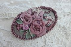 Dusty purple vintage inspired floral cameo brooch-necklace pendant accessory handmade textile jewelry with ribbon embroidery Rose garden by Virvi on Etsy