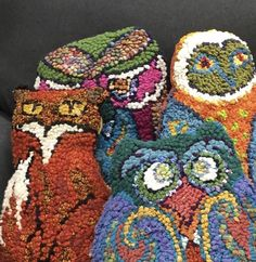 Fox and owls by Deanne Fitzpatrick. Colorful. Owl & fox rug hooking.