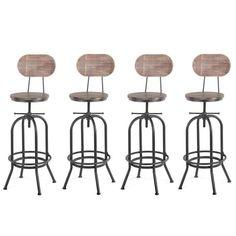 Vous allez adorer le look industriel de ces chaises de bar de style industriel avec une assise en pin ainsi qu'un cadre épais et robuste en acier. Ce tabouret de bar apportera une touche de style industriel à votre intérieur. Ce tabouret s'accorder